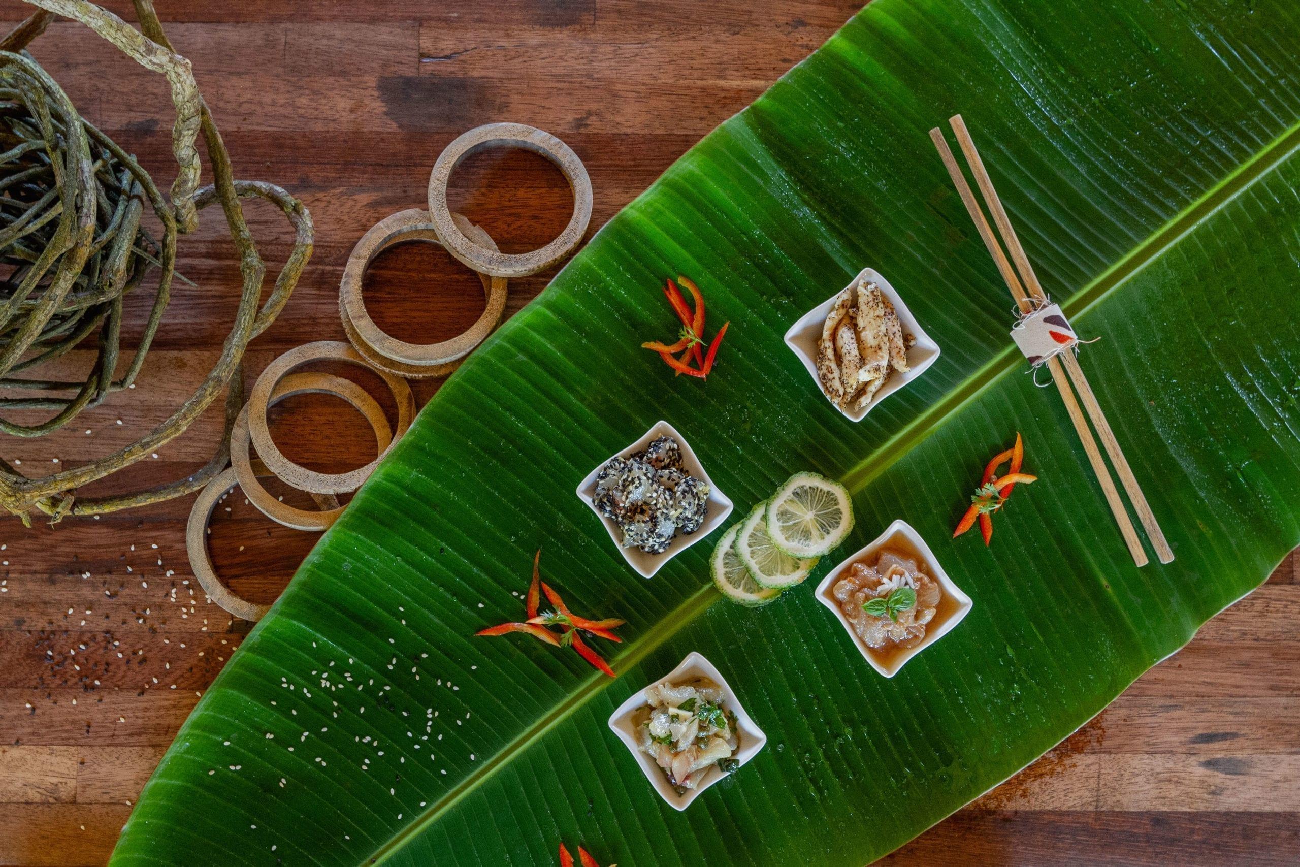Picture of fine cuisine on leaf platter
